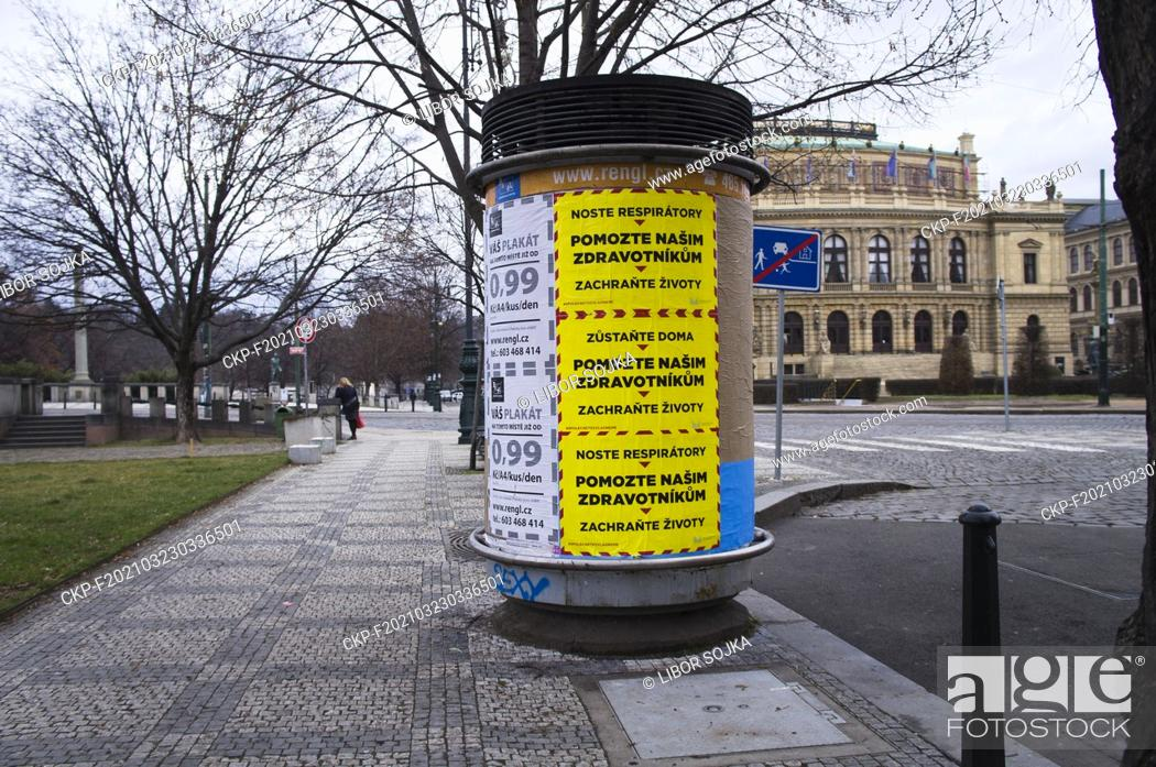 Stock Photo: Posters calling for help to paramedics, on March 11, 2021, in Prague, Czech Republic, backward right there is building of Rudolfinum Hall.