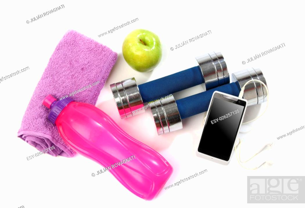 Stock Photo: Fitness concept with a bottle of water, a towel, dumbbells, apples and a smartphone isolated.