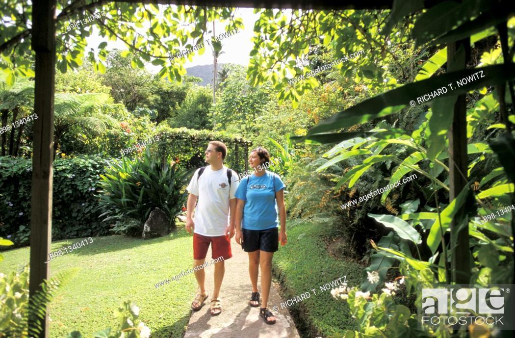 Stock Photo: Exploring the Diamond Botanical Gardens Saint Lucia, West Indies.