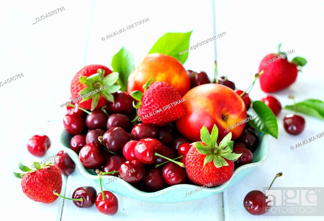 Stock Photo: Summer berries and fruits.