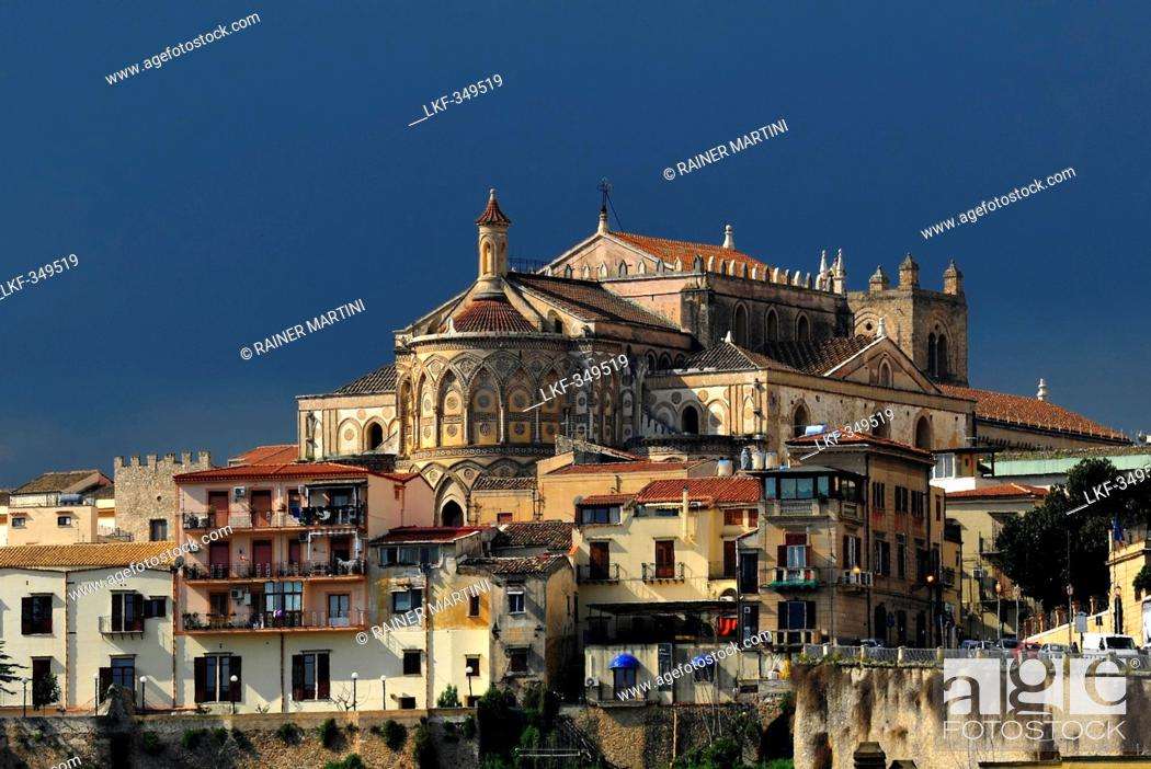 Stock Photo: View of Dome of Monreale and the city, Monreale, Palermo, Sicily, Italy.
