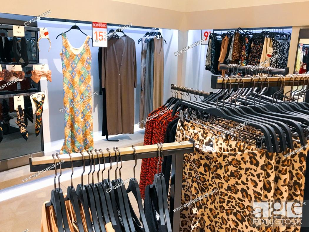 Stock Photo: Burgas, Bulgaria - February 14, 2020: Zara store in Burgas. Zara is a Spanish clothing and accessories retailer based in Arteixo, Galicia.