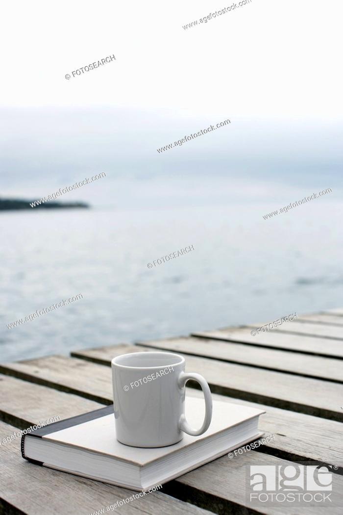 Stock Photo: Mug and book on deck.