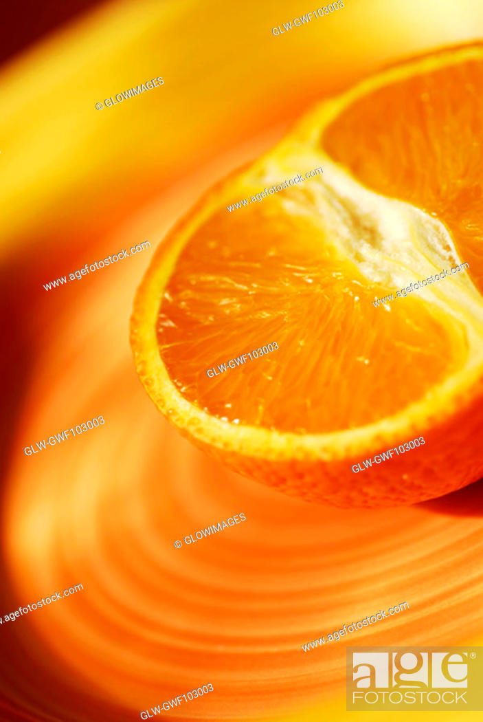 Stock Photo: Close-up of the cross section of an orange.