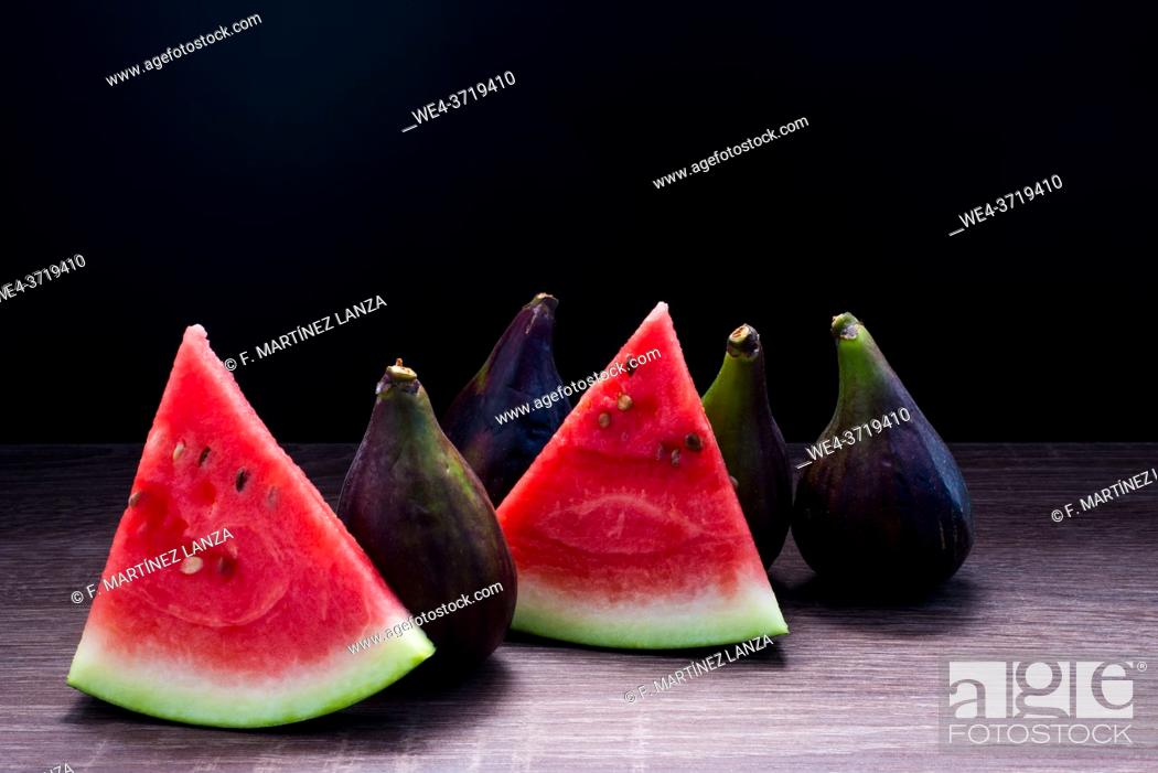 Stock Photo: Figs with watermelon pieces.