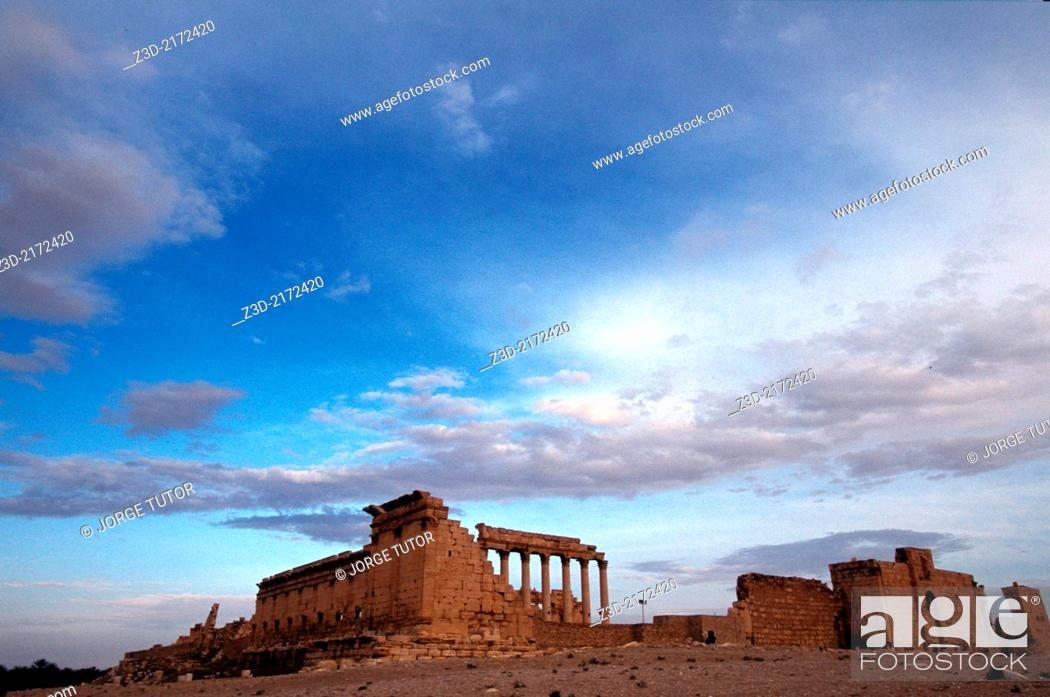 Stock Photo: Temple of Bel, Palmyra, at dusk, Syria.