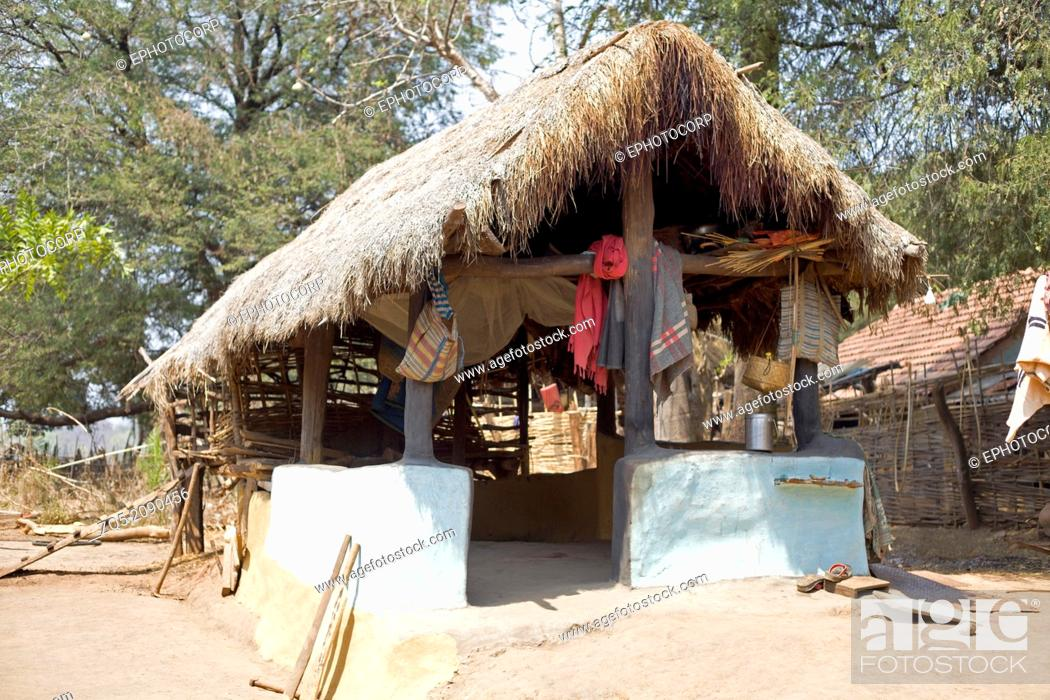 Tribal house, Odisha, India, Stock Photo, Picture And Rights Managed