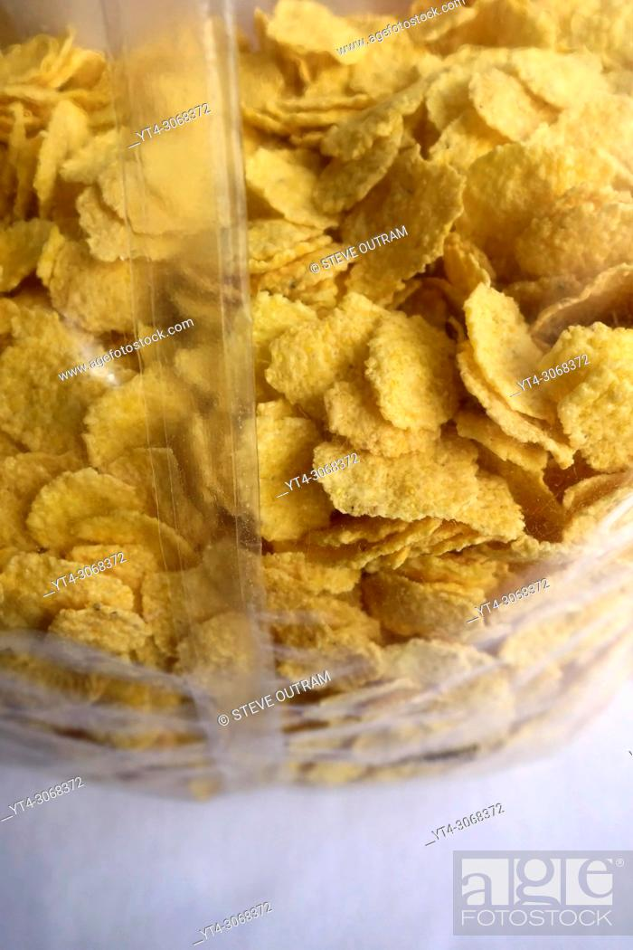 Stock Photo: Unopened Packet of Corn Flakes.