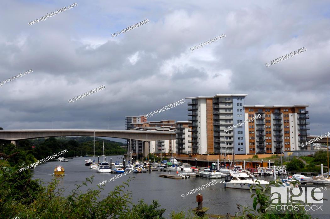 Stock Photo: Marina and apartment block, Cardiff Bay, Cardiff, Wales, UK, Europe.