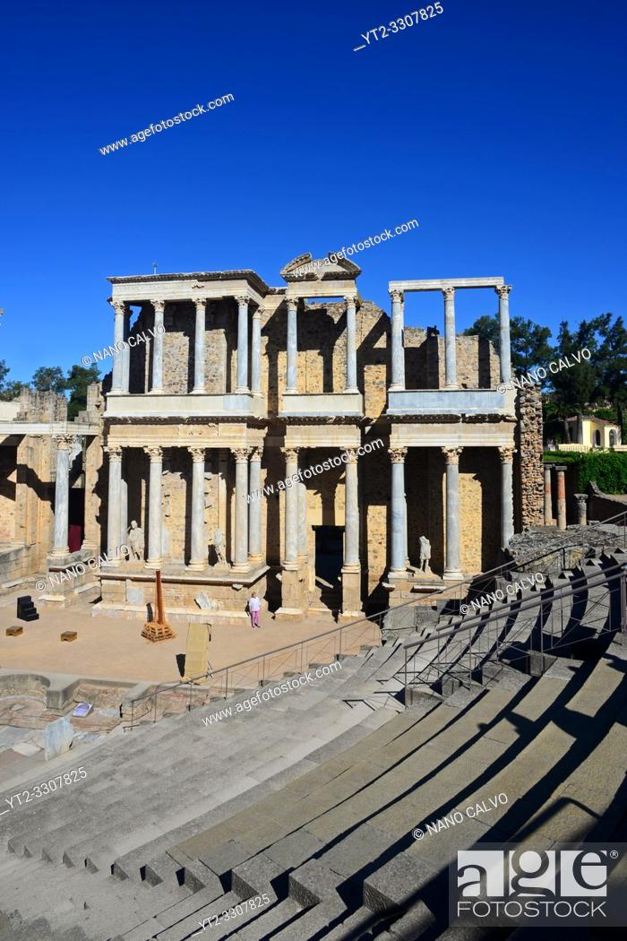 Stock Photo: Roman Theatre of Merida, constructed in the years 16 to 15 BCE and promoted by the consul Vipsanius Agrippa in the Roman city of Emerita Augusta.