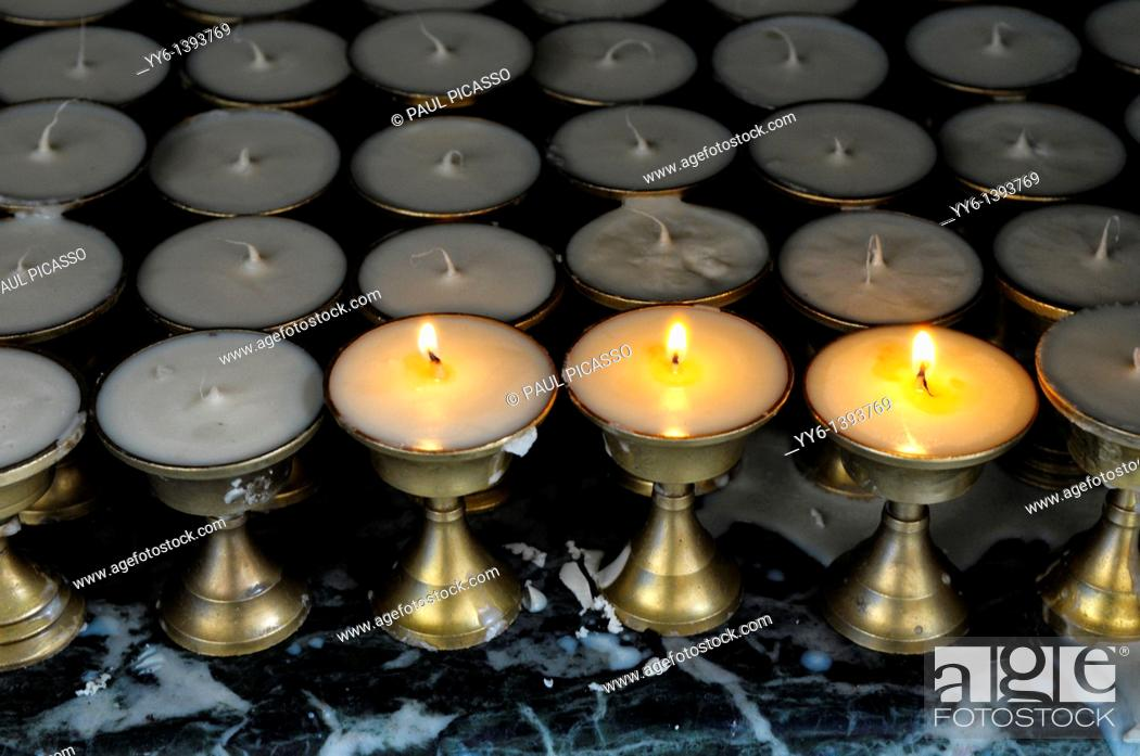 Stock Photo: candle in hindu temple , kathmandu, nepal.