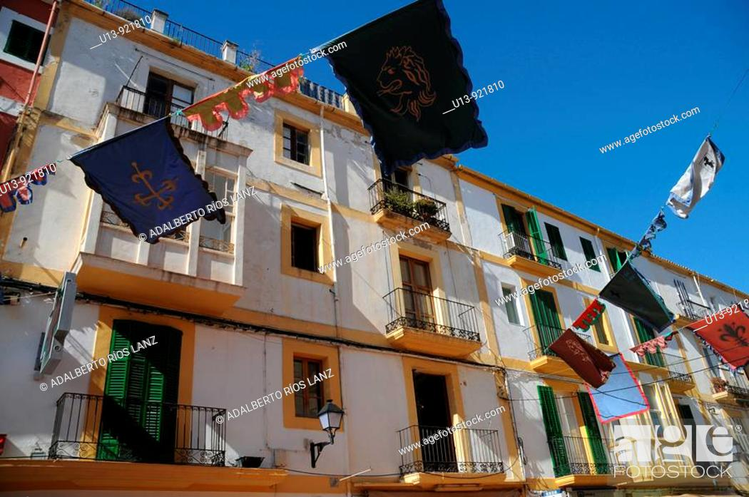 Stock Photo: Residential apartment buildings, Plaça de la Vila, Dalt Vila old town, Ibiza, Balearic Islands, Spain.