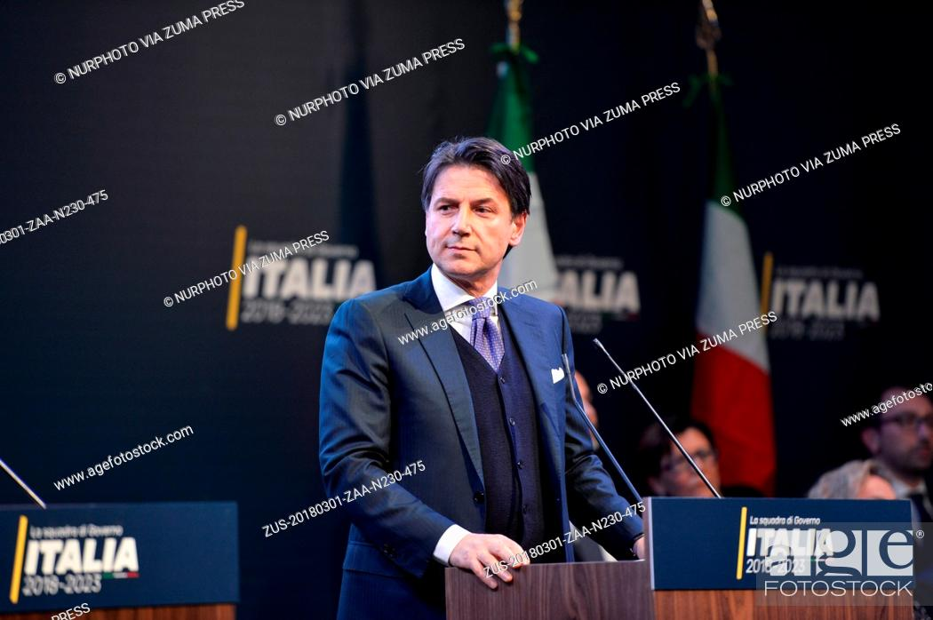 Stock Photo: March 1, 2018 - Rome, Lazio, Italy - Giuseppe Conte, Public Administration Minister, during the presentation of would-be cabinet team ahead of elections on.