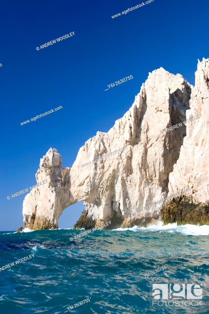 Stock Photo: El Arco rock arch or Lands End at tip of California Baja Sur peninsula Cabo San Lucas Mexico.
