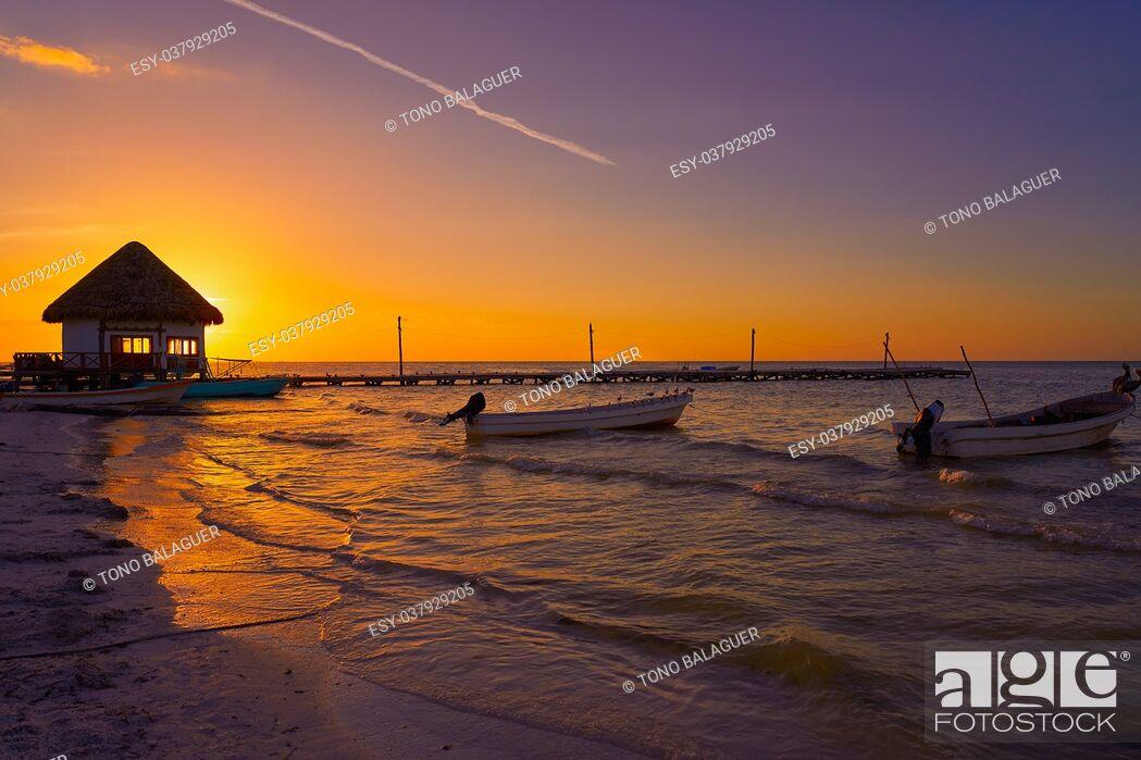 Stock Photo: Holbox Island pier palapa sunset beach in Mexico Quintana roo.