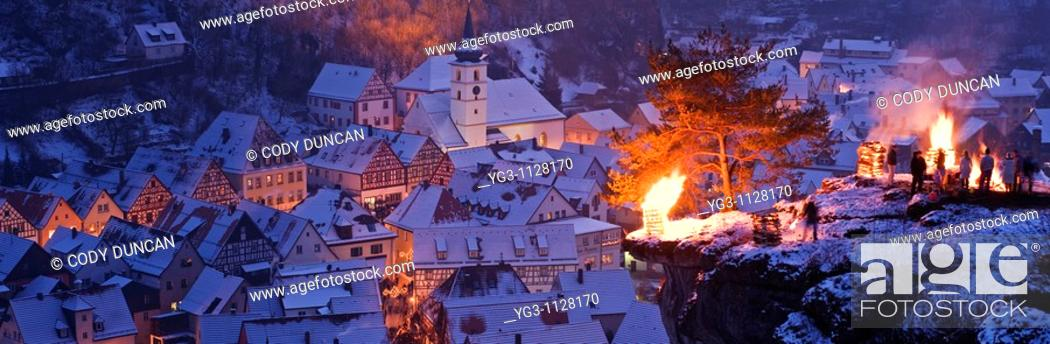 Stock Photo: Pottenstein, Franconia, Bavaria, Germany - annual Ewige Anbetung fire festival on the evening of January 6th, 2009.