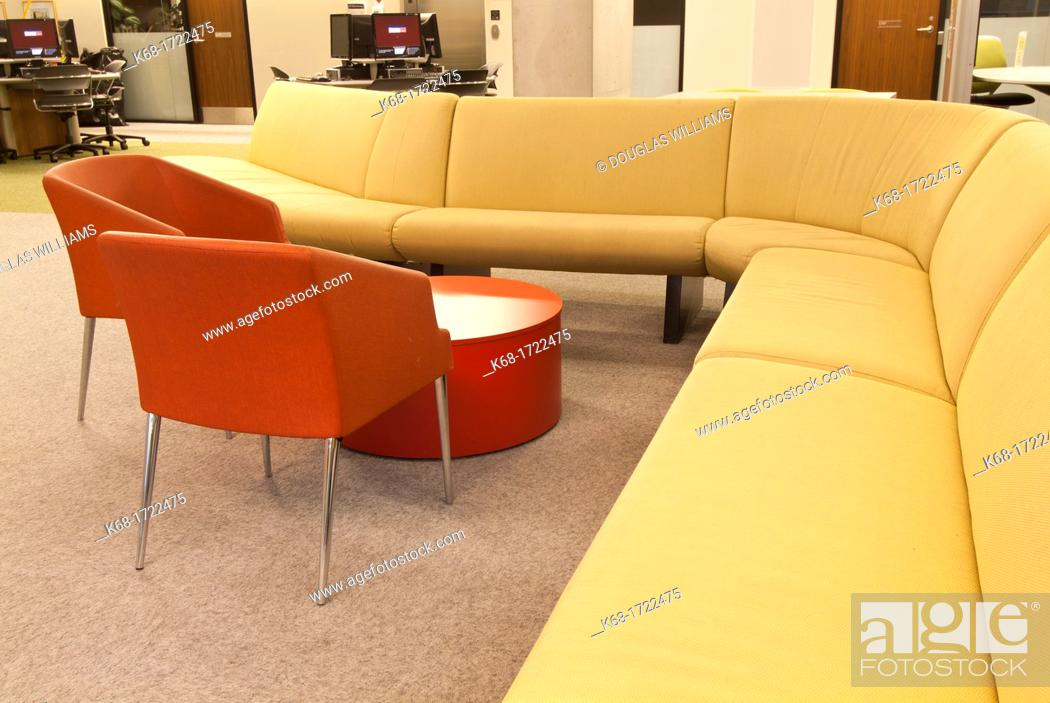 Stock Photo: The interior of the library at Langara College in Vancouver, BC, Canada.