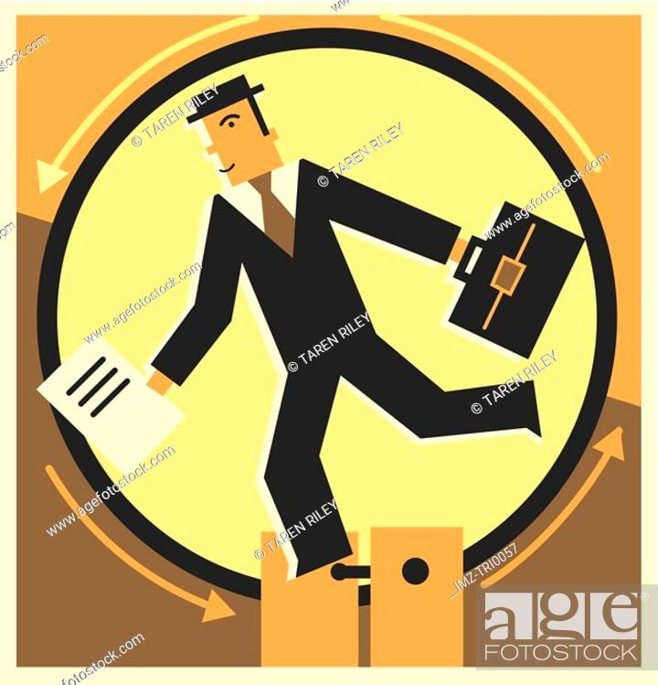 Stock Photo: Businessman running inside a wheel.