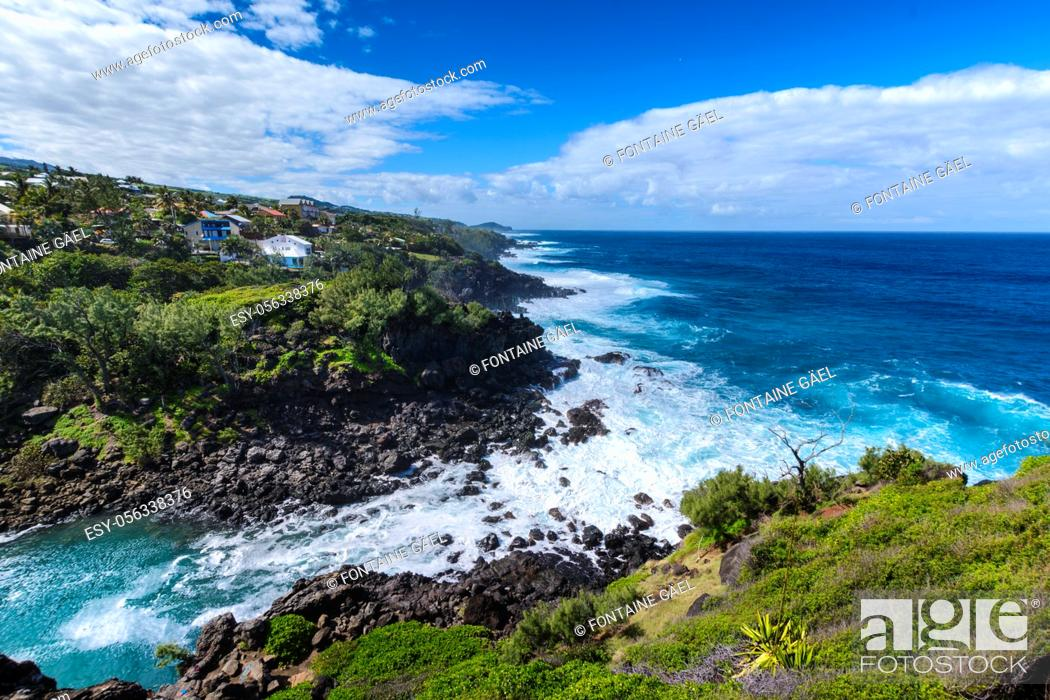 Stock Photo: Ravine des Cafres during a sunny day in Reunion Island with a large blue sky.