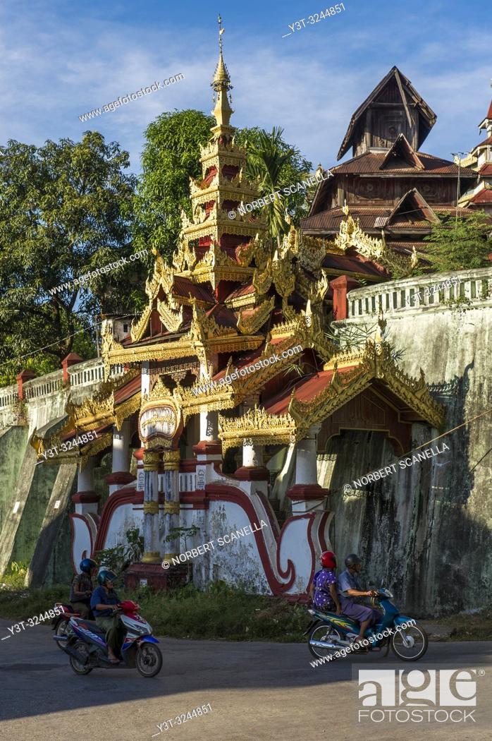 Stock Photo: Myanmar (formerly Burma). Mon State. Mawlamyine (Moulmein). Monastery of Kyaung Seindon Mibaya.