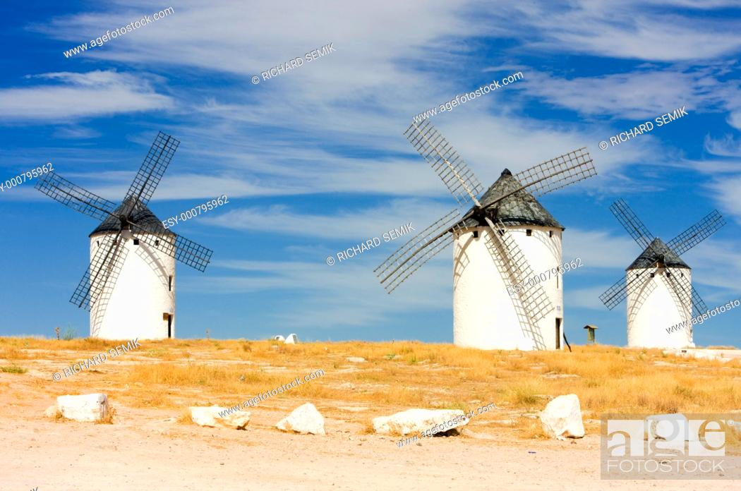 Stock Photo: windmills, Campo de Criptana, Castile-La Mancha, Spain.