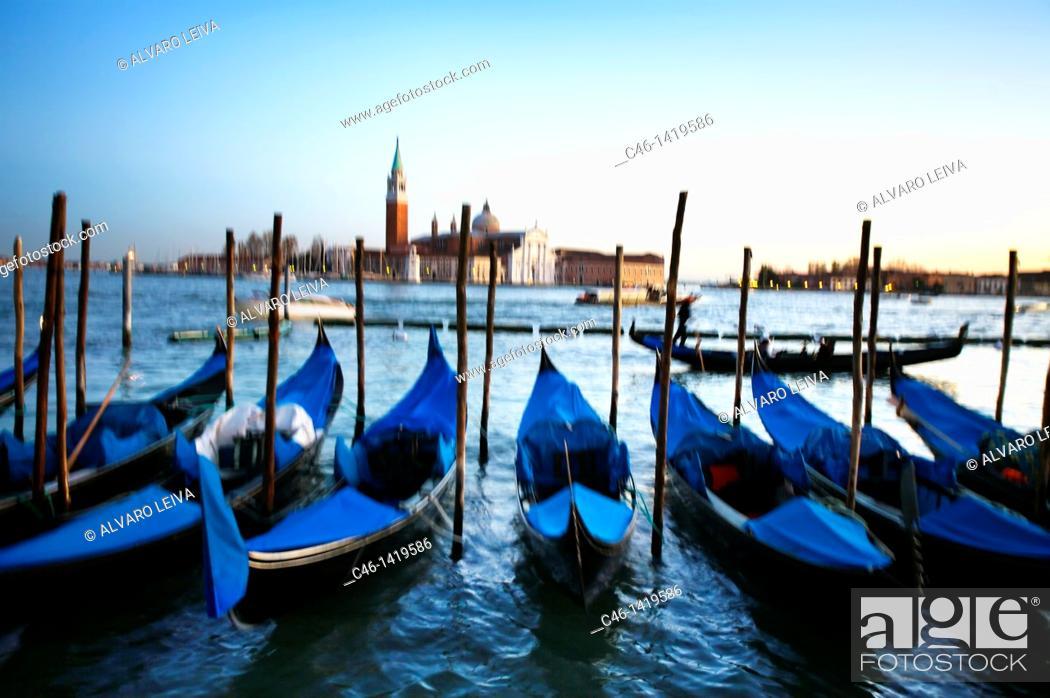 Stock Photo: Gondolas and San Giorgio Maggiore church in background  Venice  Veneto, Italy.