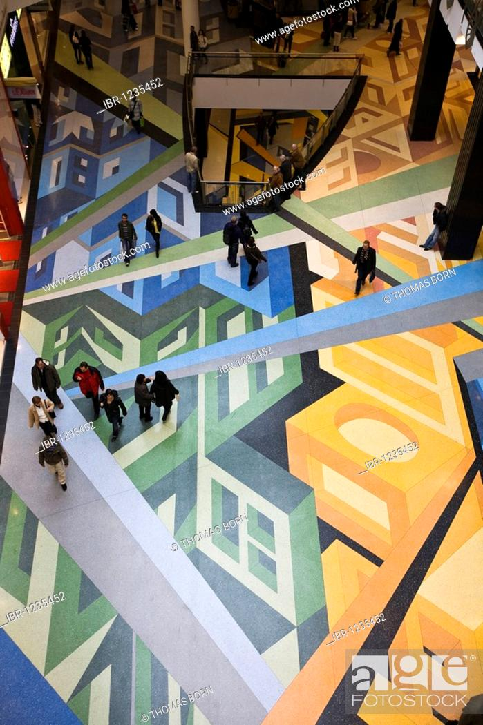 Stock Photo: Multistory shopping mall adorned with colourful floors, Alexa Shopping Center, Berlin, Germany, Europe.