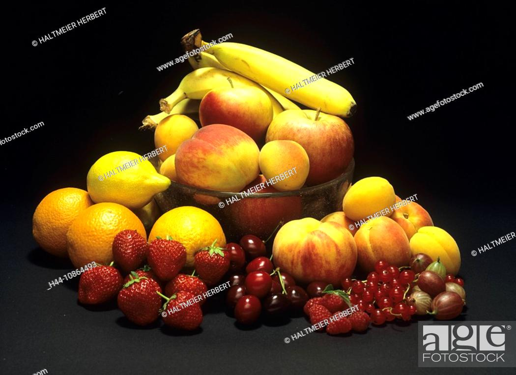 Stock Photo: Fruits, berries, berry, dish, fruit, still life, bananas, apples, strawberries, cherries, cherry, oranges, peaches, food, healthy.