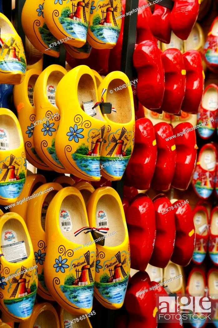 Traditional Wooden Shoes Amsterdam Holland Stock Photo Picture