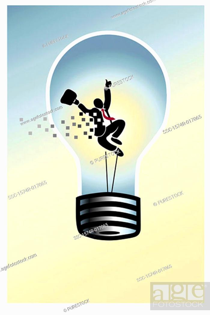 Stock Photo: Lightbulb Man Linda Braucht (20th C. American) Computer graphics.