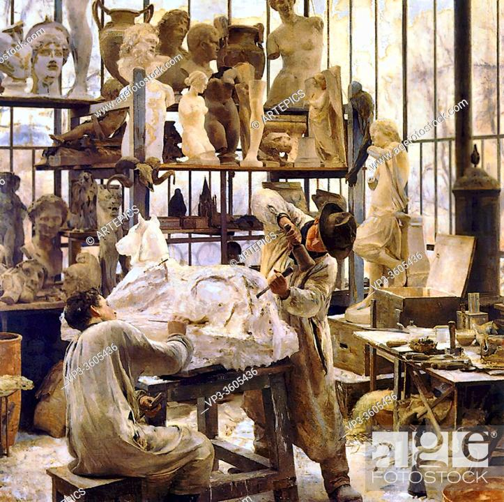 Imagen: Dantan Edouard - Un Moulage Dans La Serre - French School - 19th Century.