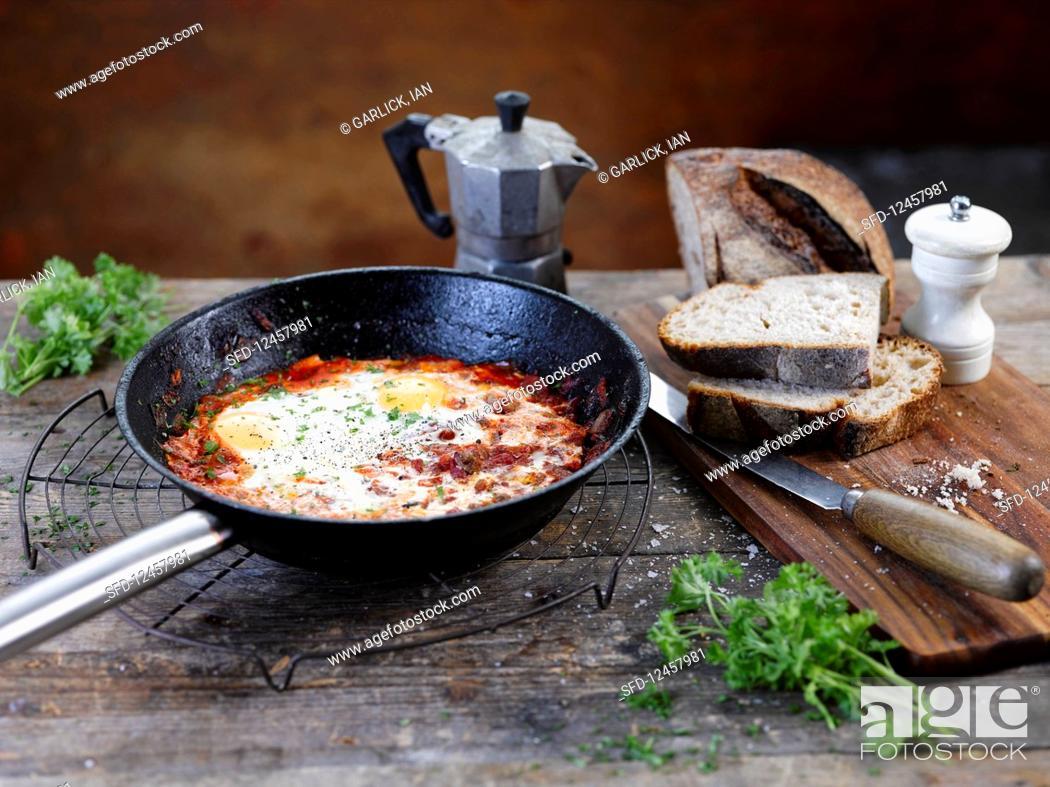 Stock Photo: Spanish baked eggs.