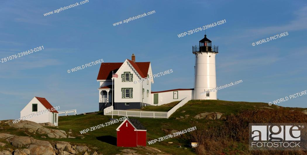 Stock Photo: Cape Neddick Lighthouse (also known as Nubble Light); York Beach, Maine.