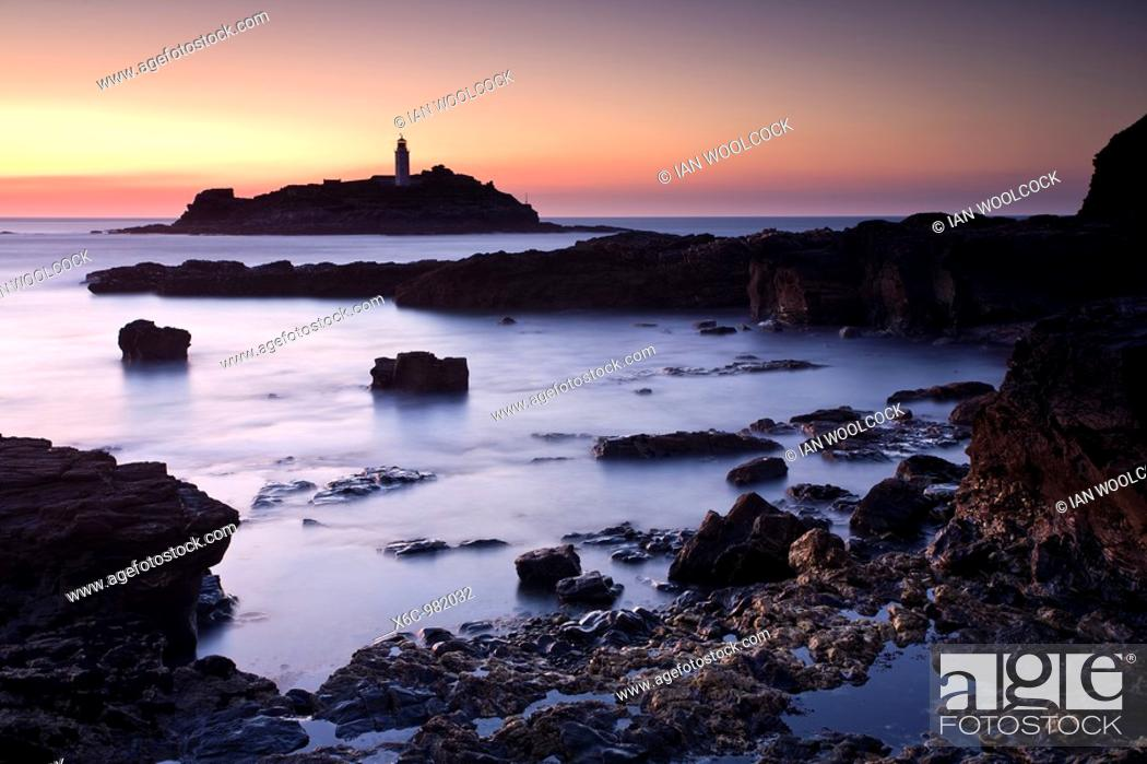 Stock Photo: Sunset at Godrevy Cornwall England UK.