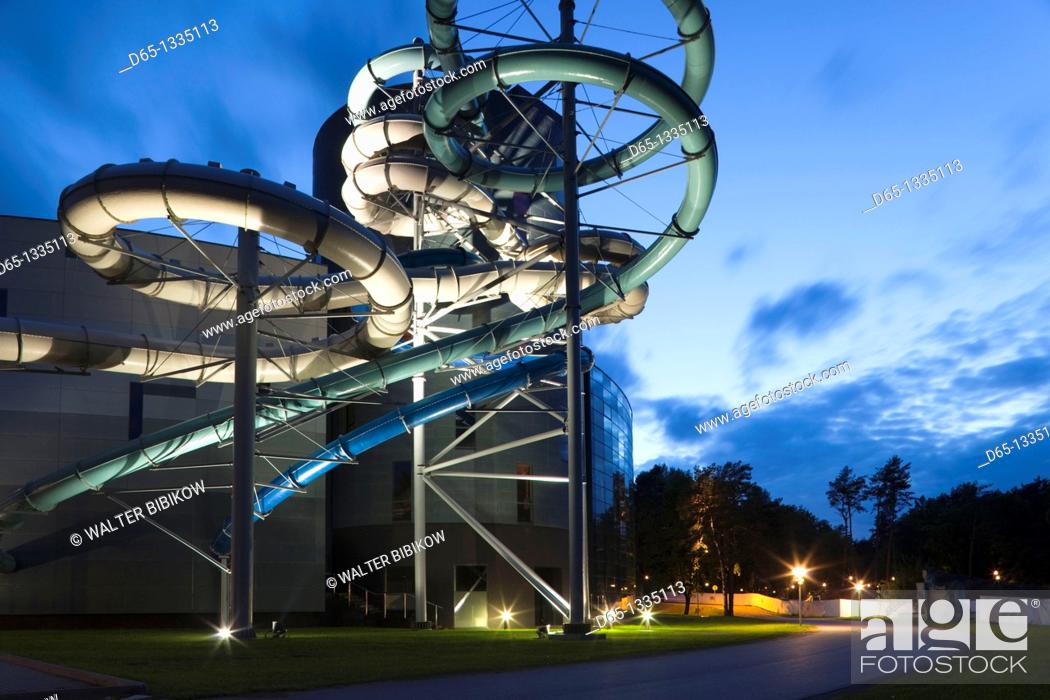 Stock Photo: Lithuania, Southern Lithuania, Druskininkai, Aqua Park spa, evening.