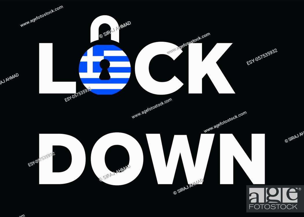 Stock Vector: Lockdown in Greece. Flag of Greece on a padlock to indicate second lockdown in the country due to increasing number of COVID-19 cases.