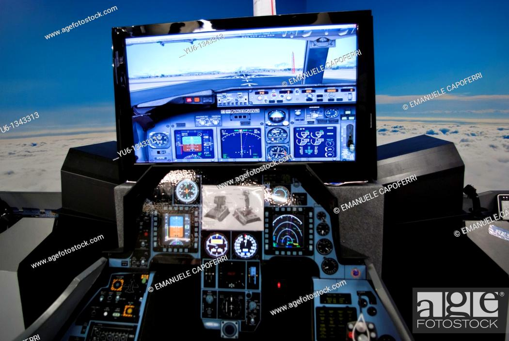 Stock Photo: Flight simulator in the Volandia Museum of Flight, Varese, Lombardy, Italy.