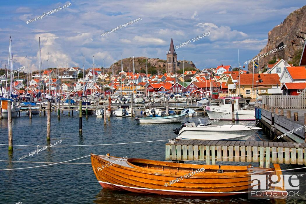 Stock Photo: Sailing boats in the harbour of the fishing village Fjällbacka, Bohuslän, Sweden.