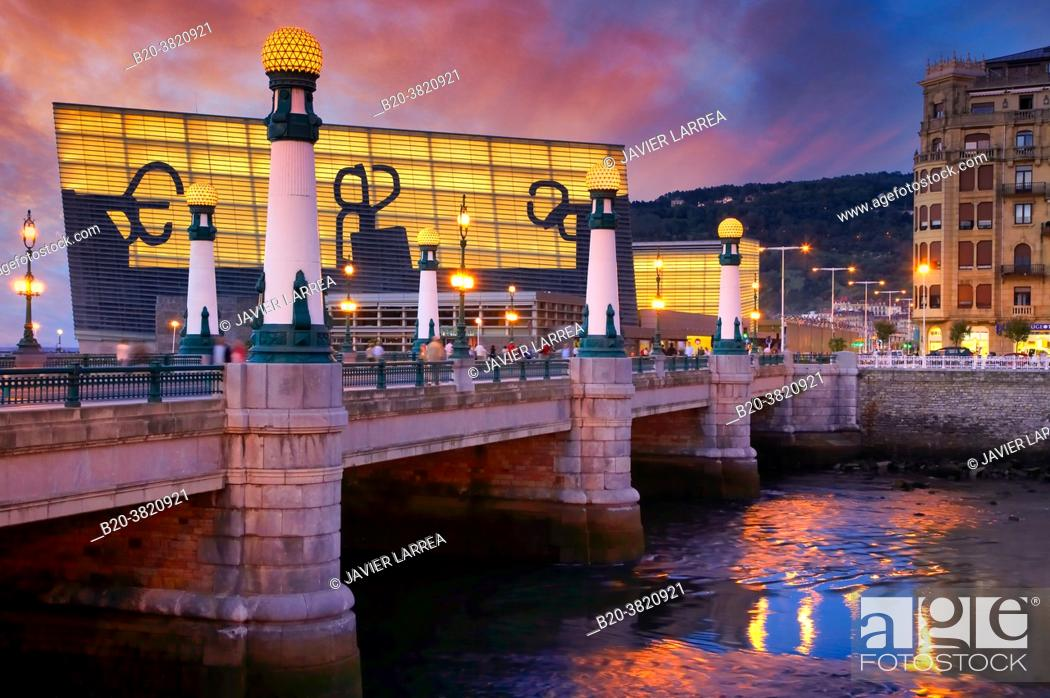 "Stock Photo: Illustration of ""Peine del Viento †, Kursaal Palace, La Zurriola bridge, Urumea river, Donostia, San Sebastian, Gipuzkoa, Basque Country, Spain."