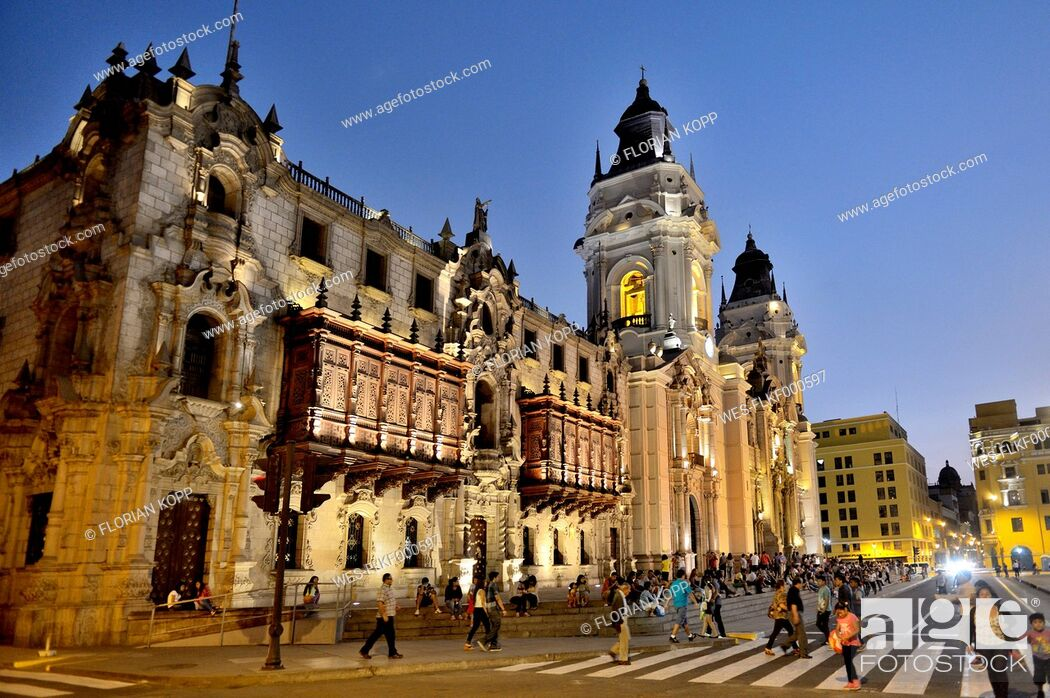 Stock Photo: Peru, Lima, UNESCO world heritage site, Basilica Cathedral of Lima.