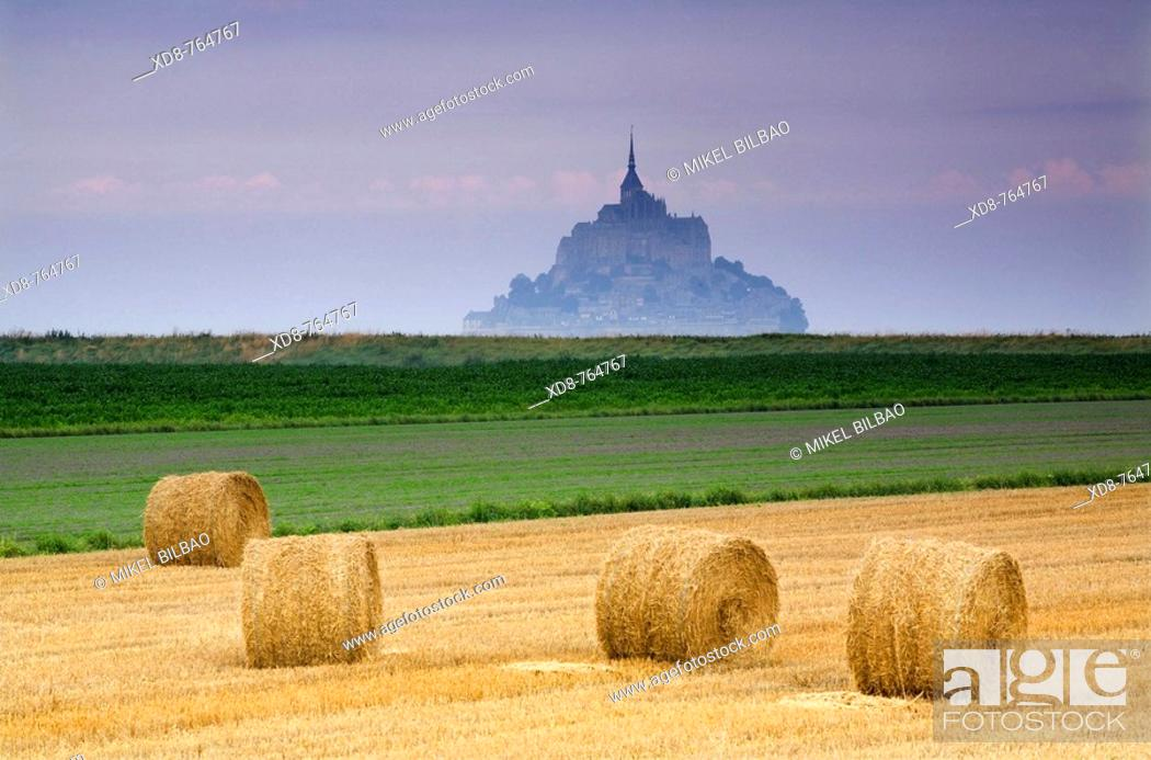 Stock Photo: St Michael's Mount and farm land with wheat bales, Manche Department, Basse-Normandie region, Normandy, France, Europe.