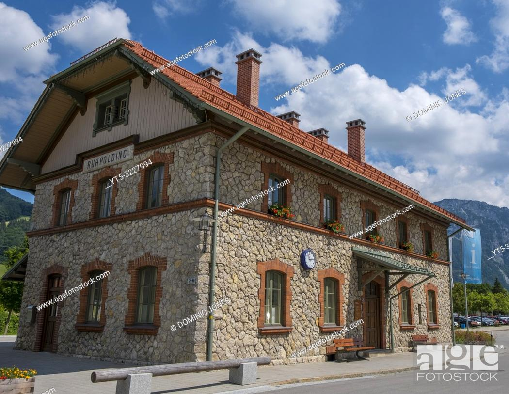Stock Photo: Ruhpolding train station, Upper Bavaria, Germany, Europe.