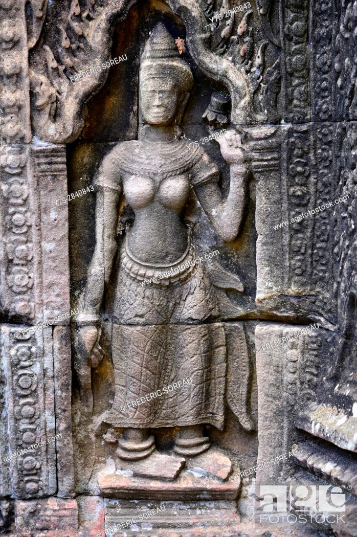 Stock Photo: Female devata wall carving, Banteay Kdei temple in the Angkor area near Siem Reap, Cambodia, Indochina, Southeast Asia, Asia.