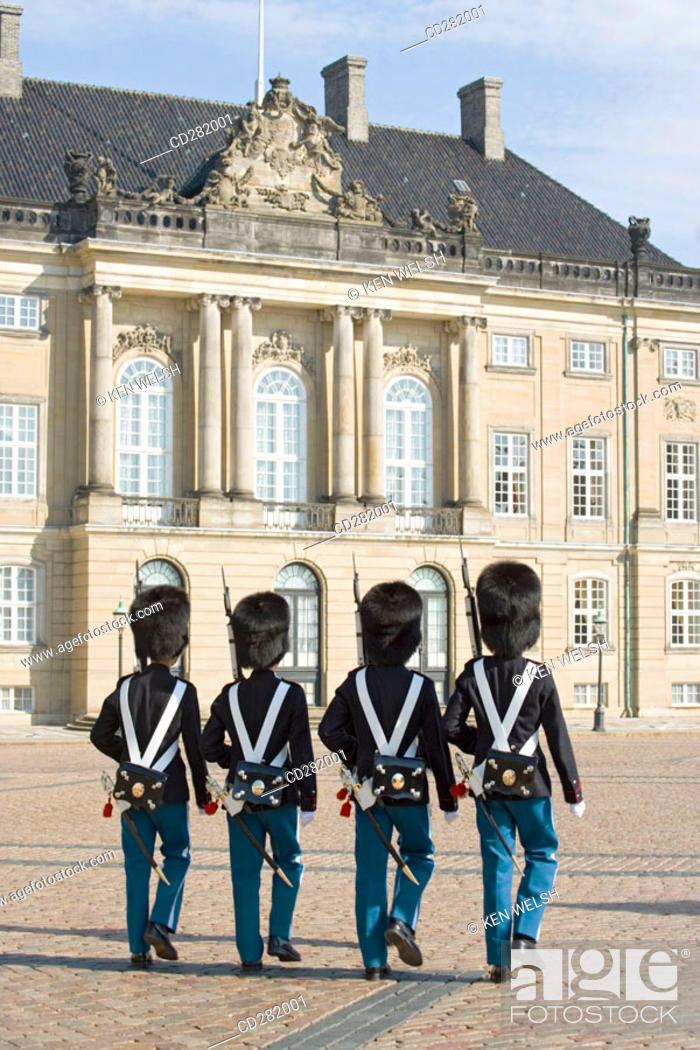 Stock Photo: Guards at Amalienborg Palace, Copenhagen, Denmark.