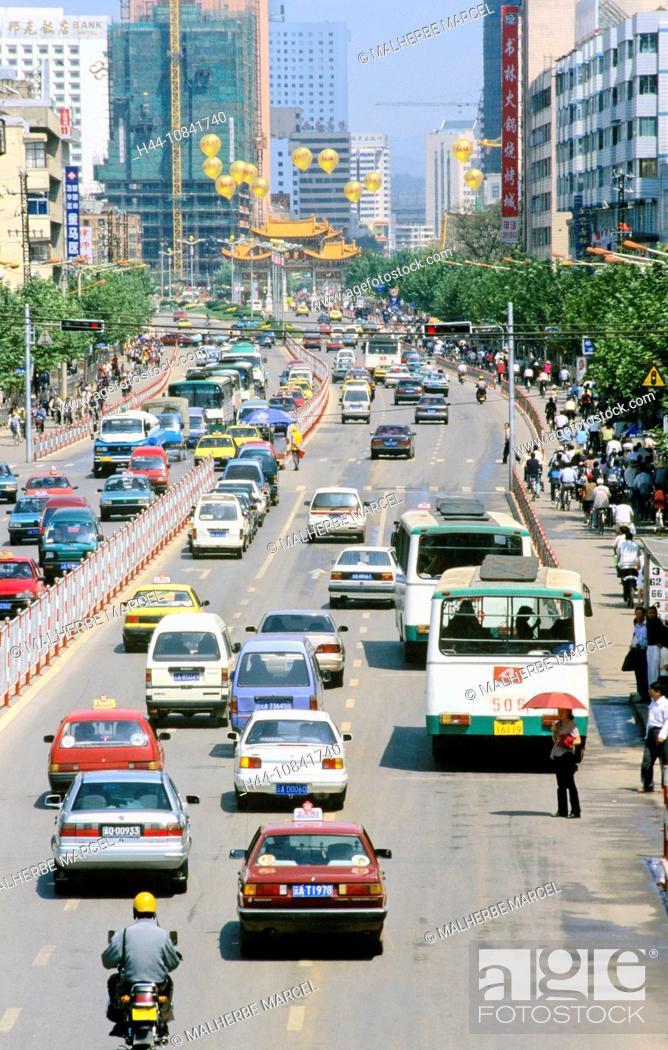 Stock Photo: China, Asia, Kunming, Yunnan Province, town, Kunming, city, Downtown, traffic, Beijing Lu, Asia, traffic, architecture.
