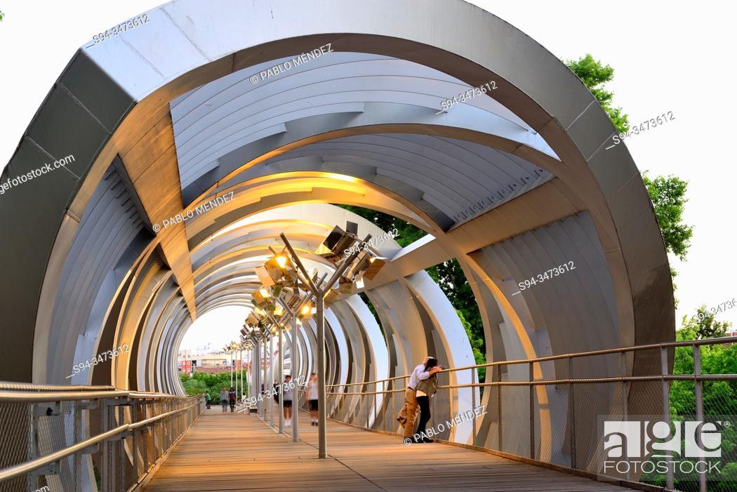 Stock Photo: Bridge of the Arganzuela, Madrid Rio, Madrid, Spain.
