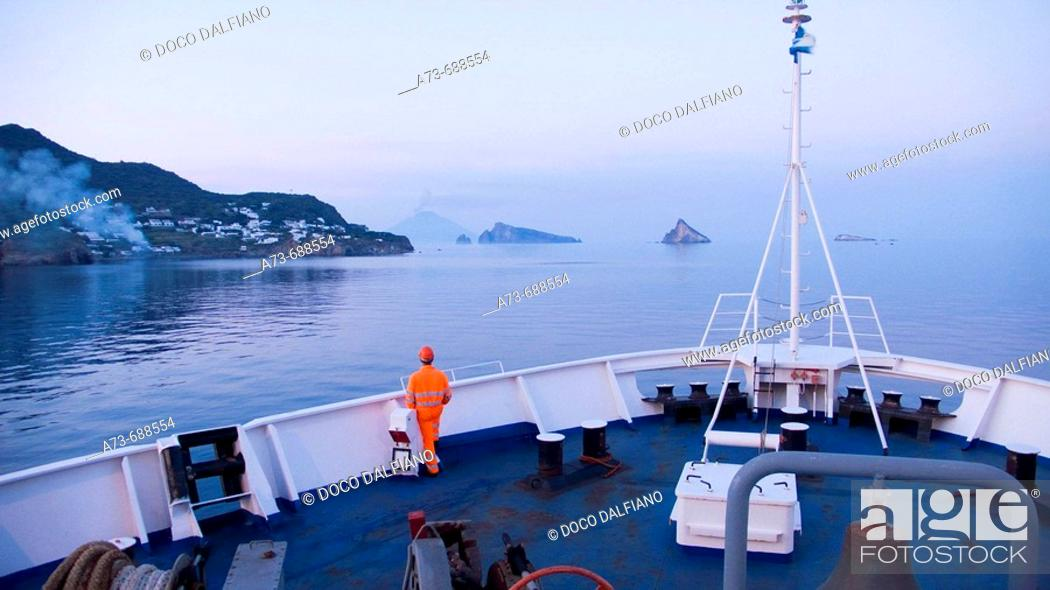 Stock Photo: View of Stromboli and Basiluzzo from ferry boat. Eolian Islands, Sicily, Italy.