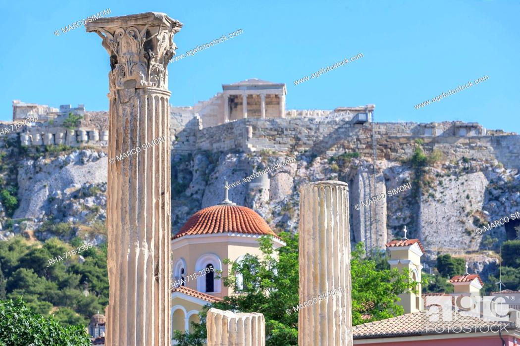 Stock Photo: Acropolis including Library of Hadrian columns, Athens, Greece, Europe.
