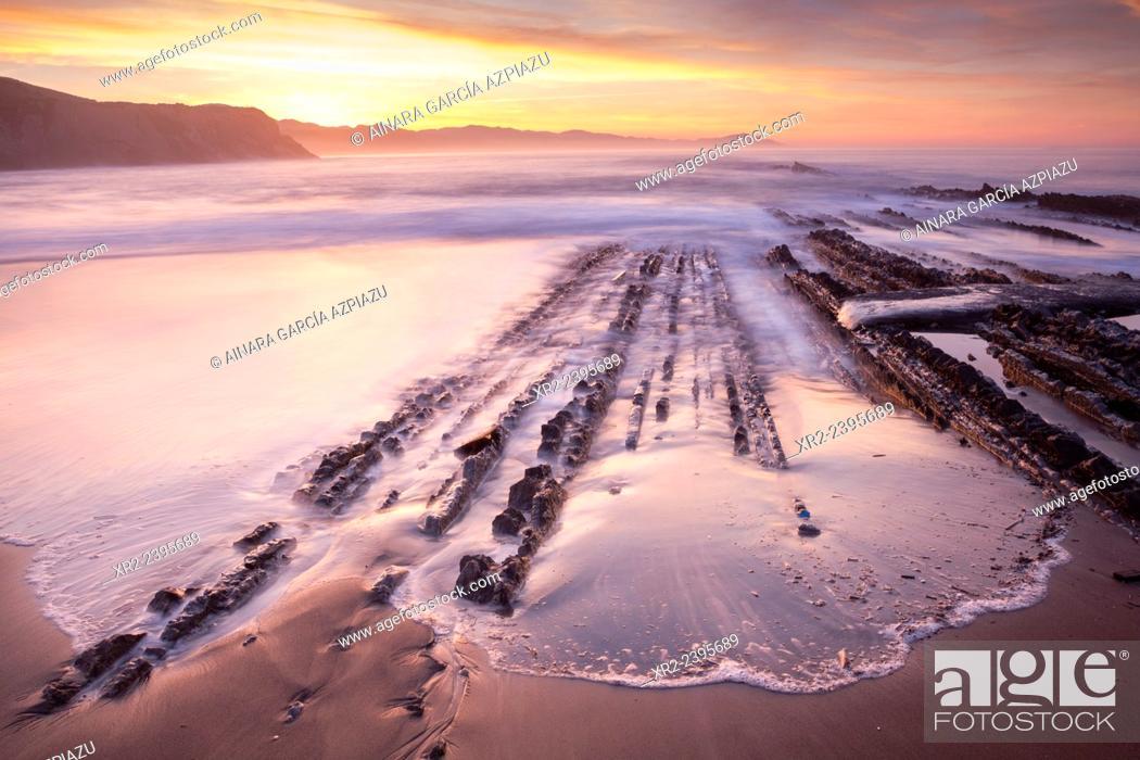 Stock Photo: Sunset and Flysch in Iturun beach, Zumaia, Gipuzkoa, Basque Country.