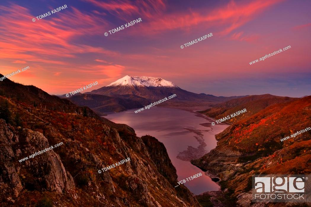 Stock Photo: Autumn sunrise over Mt  St  Helens volcano which erupted in 1980, and created almost moon like landscape to which life is slowly finding it's way back.